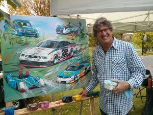 Bill Patterson painting Alex Tagliani's racing career.