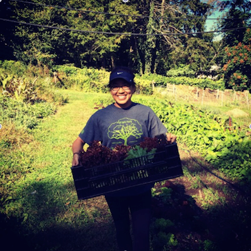 dr. amy duong enjoying the fall harvest