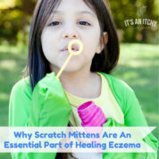 scratch mittens - girl blowing bubbles in scratchmenots