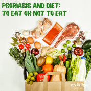 Grocery bag of colorful food - psoriasis and diet
